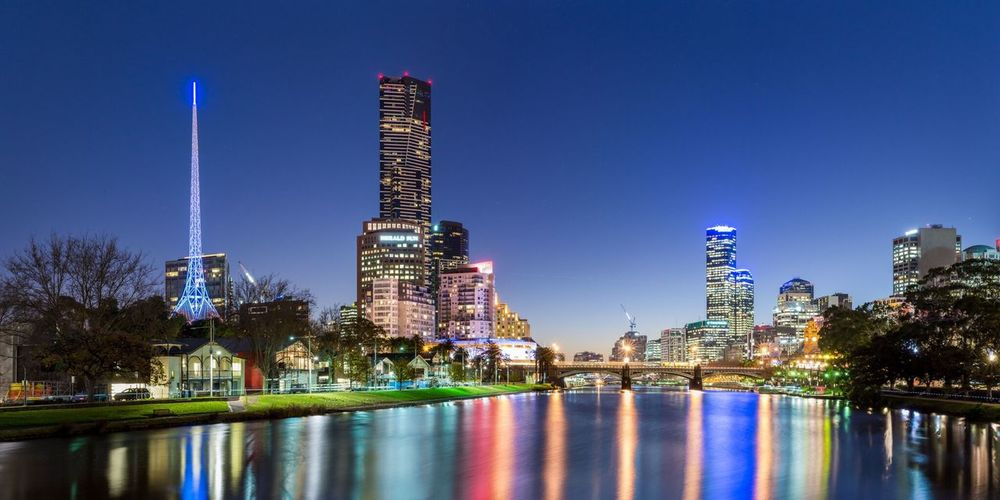 Melbourne City Sunset Dusk River Reflection Citylights Cityscapes EyeEm Best Shots Blue Bluesky Sky Australia Nikon