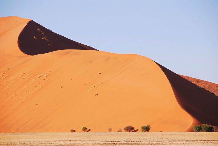 Scenic view of namib desert against clear sky