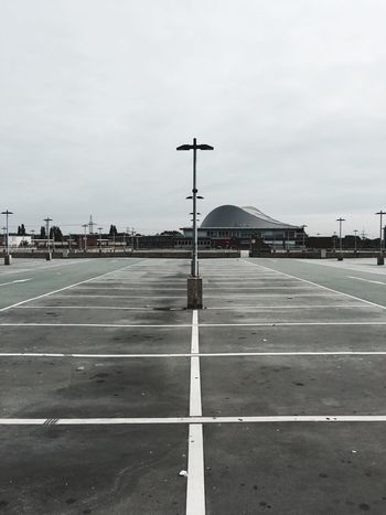 Parking Parking Lot Empty Places Empty Architecture Shopping Mall Monotone Outdoors Structures & Lines Built Structure Transportation