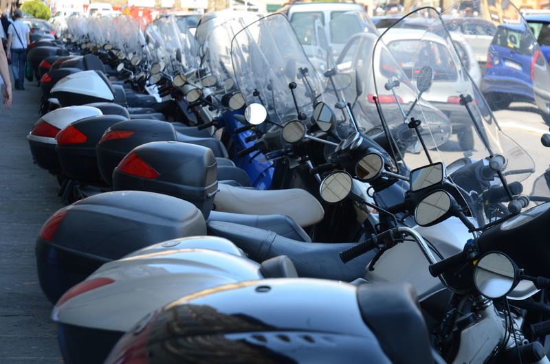 View of motorcycles parked on street