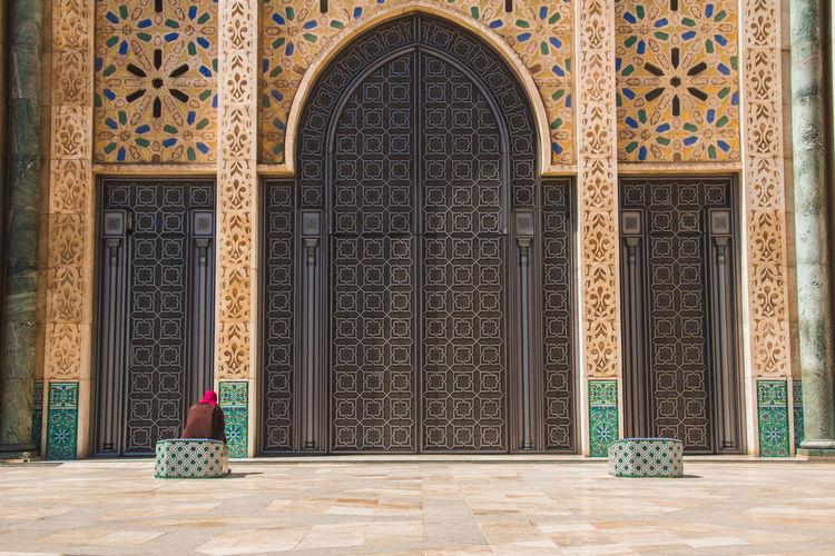 Entrance of a hassan ii mosque in casablanca, morocco