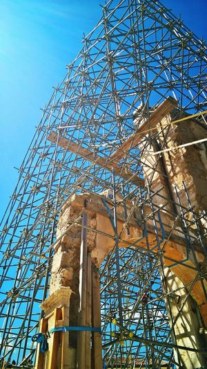 Not Selected For Market Outdoor Photography Daylight Italy Stone Old Ruins Earthquake Outdoors Tourism Renovation Reconstruction Monument Church Stone Buildings Metal Structure Scaffolding Restauration Umbria Sky Architecture Built Structure Arch Cathedral Iron Construction National Monument Discarded Historic Building