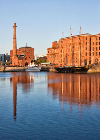 Albert Docks Architecture Liverpool Sailing Ship Blue Clear Sky Nautical Vessel No People Reflections Travel Destinations Water Waterfront