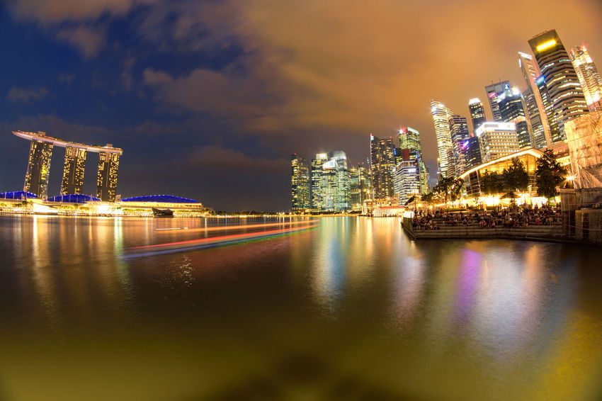 Light Long Exposure Shot Night Lights Nightphotography Singapore Boat Building Building Exterior City Cityscape Cloud - Sky Landmark Light Trail Long Exposure Night Nightscape Reflection River Sky Skyscraper Slow Shutter Slow Shutter Speed Urban Skyline Water Waterfront