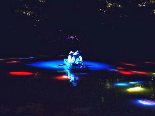 "Summer Night Lights Illusion ""Mifuneyama Rakuen pond"" Night Photography Projection Mapping Drawing Elegance Everywhere Water Reflections One Shot Wonder de Good Night"