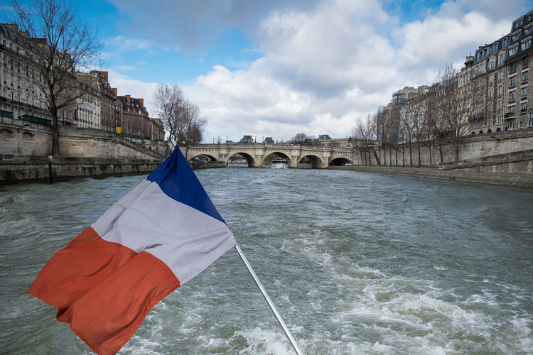 Paris, France  Batobus Boat Trip Flag French Flag River Seine Tourism Water Waterway
