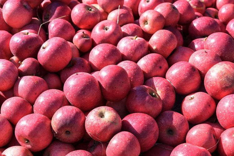 Full frame shot of apples at market stall