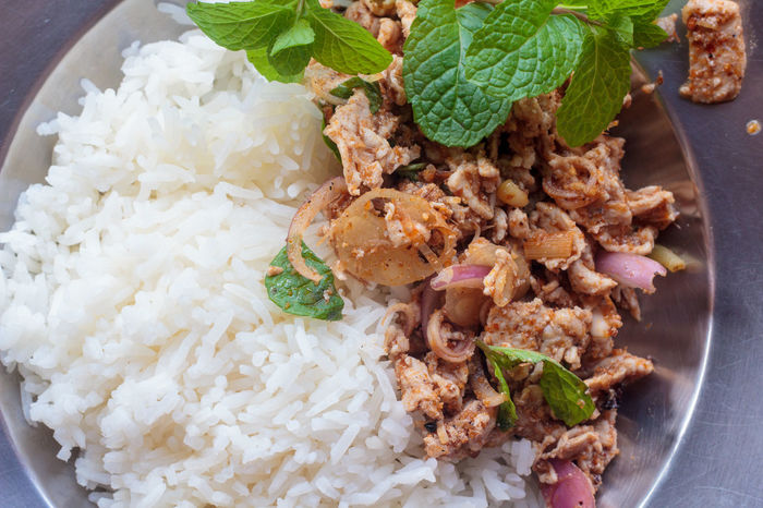 Coriander Food Larb Larb Coriander Minced Meat Minced Meat (with Vegetable And Chilli) Pork Salad Spicy Minced Chicken Thai Food Thailand Food ลาบ