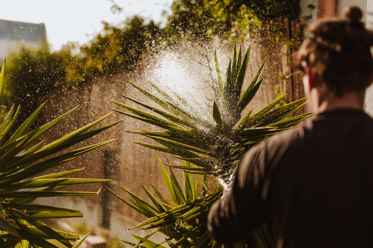 Gardening Adult Day Growth Headshot Leisure Activity Lifestyles Nature One Person Outdoors Palm Leaf Plant Portrait Real People Rear View Selective Focus Sunlight Tree Water Watering Women