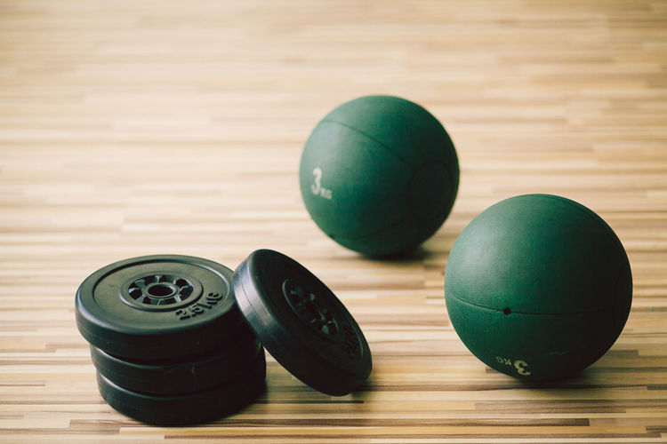 Close-Up Of Exercise Equipment On Hardwood Floor