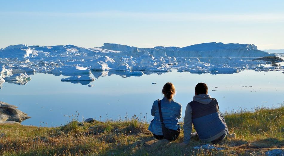 Photo taken by Ilulissat Icefiord, Greenland, at a Unesco world heritage site. Arctic Arctic Circle Beauty In Nature Blue Sky Greenland Hiking Ice Icebergs Midnight Sun Nature Ocean Outdoors Romance Romantic Scenics Sea Sea And Sky Serenity Summer Tranquil Scene Tranquility Two People Unesco UNESCO World Heritage Site Vacations