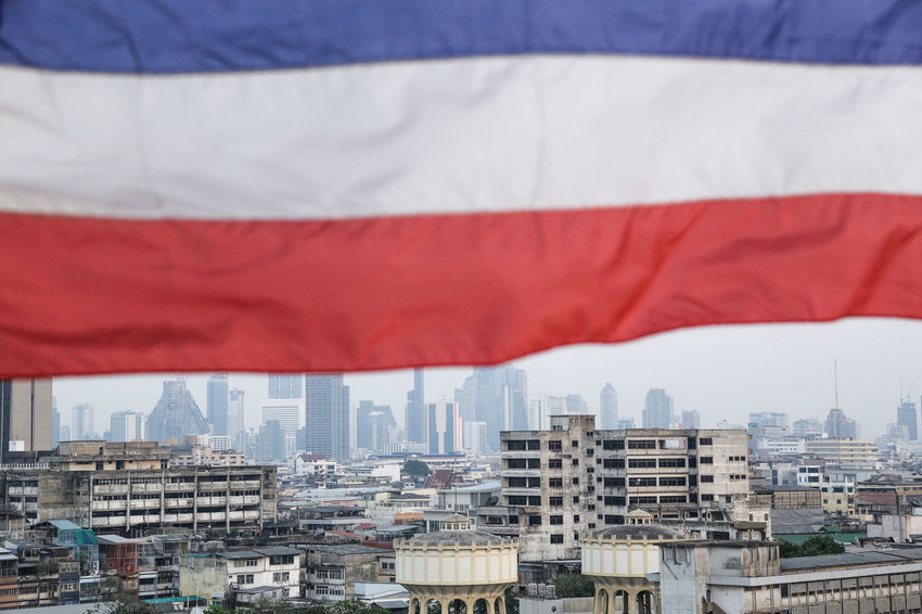 View from the Golden Mount temple (Wat Saket), Bangkok, Thailand Architecture Bangkok BKK Capitol City City Cityscape Crowded Division Flag Golden Mount Landscape Metropolis National Outdoors Population Residential Building South East Asia Temple Thai Flag Thailand Travel Photography Urban Skyline View Wat Saket