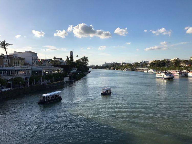 Guadalquivir River from Puente De San Telmo Sevilla Guadalquivir River Water Seville Vessels Boats Boats⛵️ Sailing