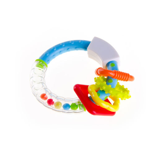 Close-up of toys over white background