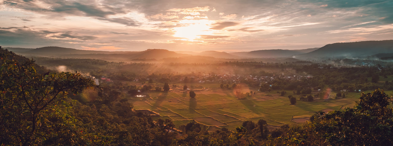 Welcome the winter with morning mountain views in sakon nakhon, thailand.