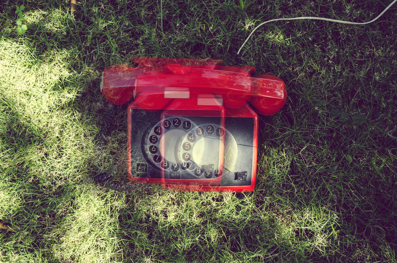 Cut And Paste Communication Grass Red Telephone Old-fashioned No People Day Outdoors Technology Close-up The Creative - 2018 EyeEm Awards