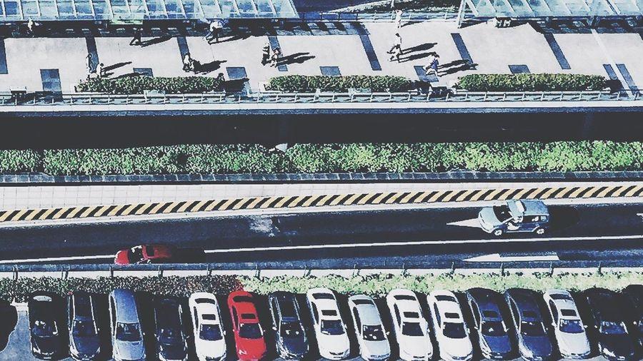各行其道 High Angle View Lujiazui Cdb Parking Passengers Foot-bridge Tunnel Three-dimensional Transportation Downtown