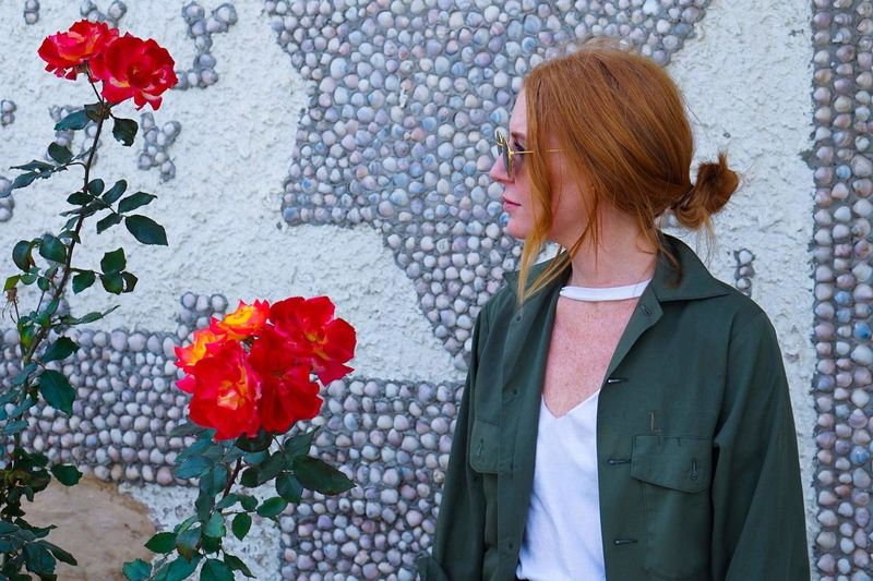 stop and smell the flowers EyeEm Selects Flower Adult Only Women Adults Only One Woman Only People One Person Red Redhead Women Standing Cheerful Multi Colored Smiling Outdoors Portrait EyeEmNewHere