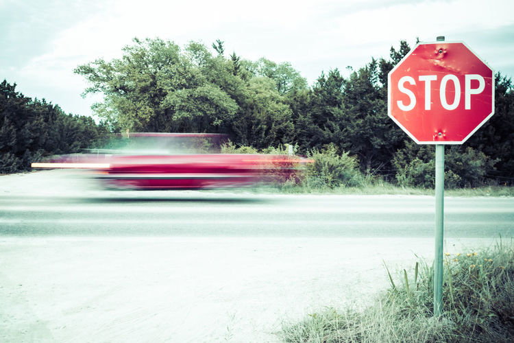 Blur Driving Fast Life Movement Outdoors Red Road Sign Stop Stop Sign Truck