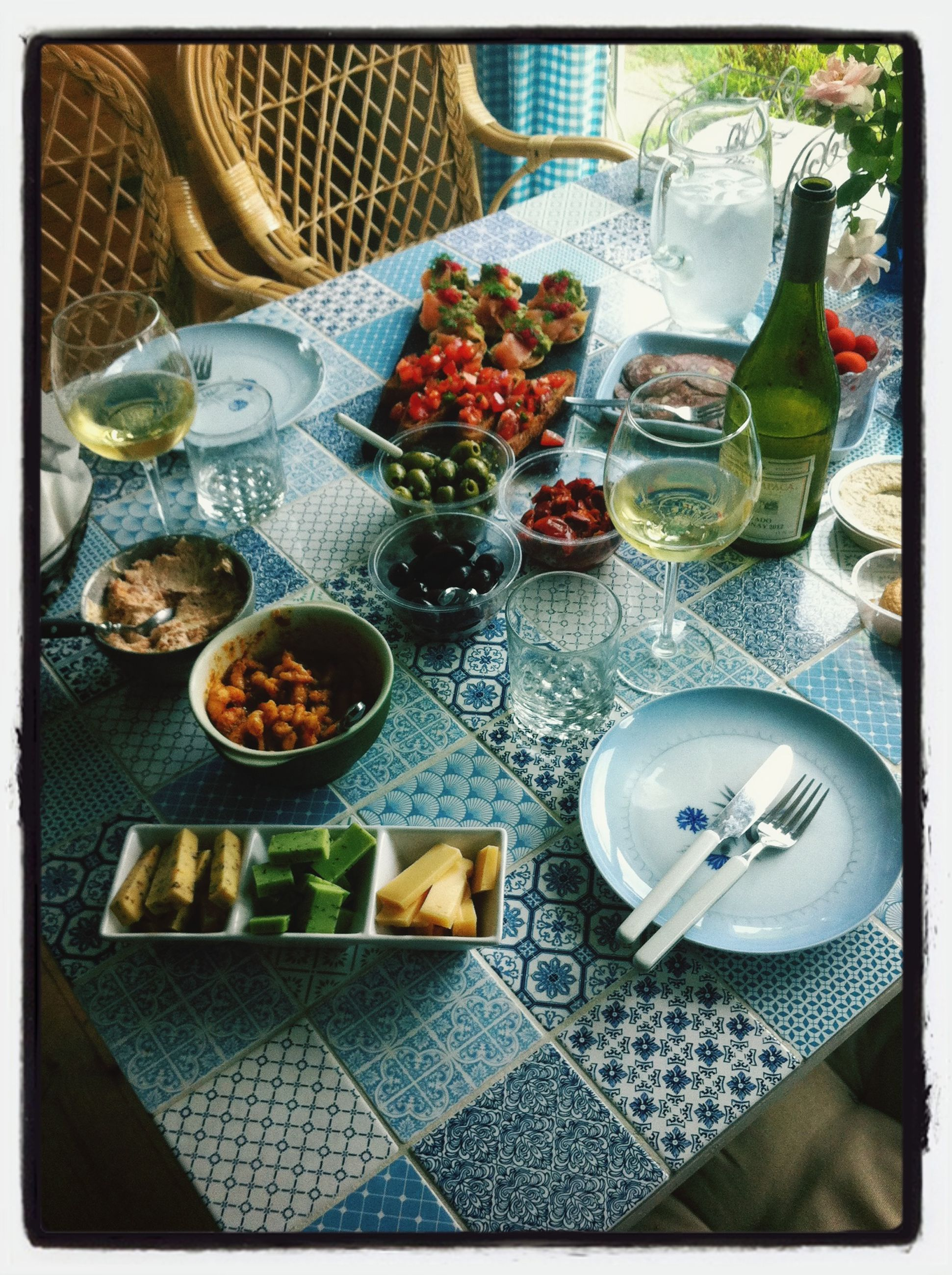 food and drink, transfer print, indoors, table, food, plate, auto post production filter, high angle view, still life, freshness, bowl, healthy eating, drink, tablecloth, ready-to-eat, fork, drinking glass, chair, directly above, variation