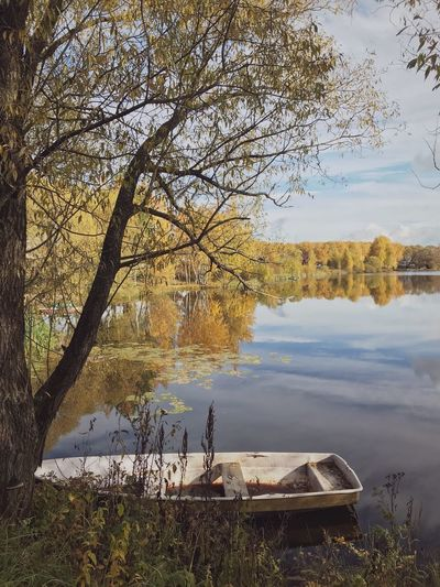 Countryside Pond Boat Tree Water Lake Reflection Nature No People Autumn Tranquility Beauty In Nature