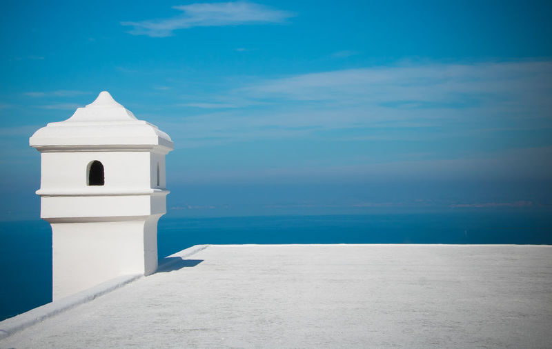 Nature Water No People Sea Outdoors Day Mediterranean  Mediterranean Sea Italy❤️ Built Structure Architecture Building Exterior Blue Sky Building Spirituality White Color Tower Horizon Over Water Cheminée Chimney Top
