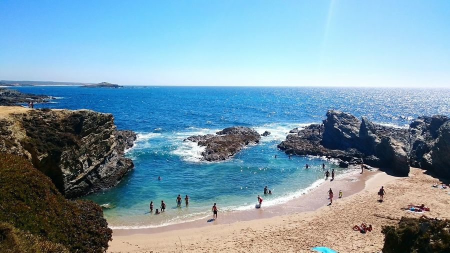 One of the ten best beachs in the world 🌊 Porto Côvo Beach Vacations Travel Beauty In Nature High Angle View Sea Water Summer Views Summer Coastline Taking Photos Verao2016 Igersportugal Europe Praia Costa Vicentina Coastline,portugal Horizon Over Water