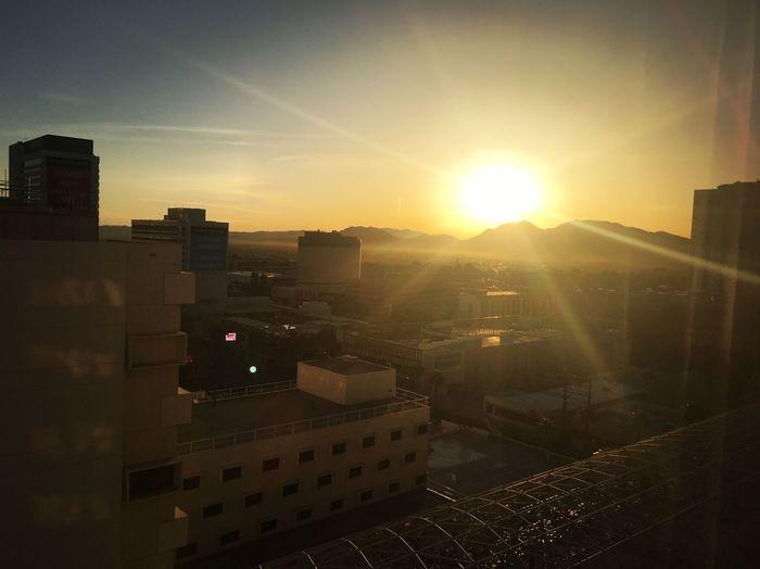 Sunrise over Las Vegas. Solarflare Mountains Lasvegas Sunrise Sky Sun Cityscape
