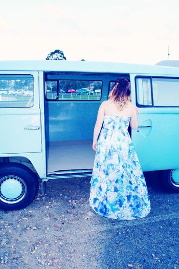 TakeoverContrast Transportation Mode Of Transport Rear View Travel Lifestyles Journey Person Day Outdoors Young Adult Traveling Old Kombi Blue Bright Newdress Newhair New Contrast New Perspectives