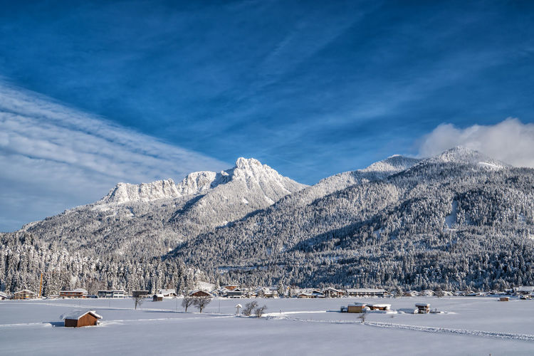 Winter wonderland Winter Cold Temperature Snow Scenics - Nature Beauty In Nature Mountain Sky White Color Cloud - Sky Tranquil Scene Mountain Range Nature Day Landscape Tranquility Environment Non-urban Scene Tree Snowcapped Mountain Mountain Peak Winter Wonderland Alps Tyrol Austria Winter