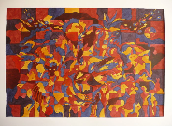 Abstract Art Backgrounds Ink On Papaer Modern Art Own Painting