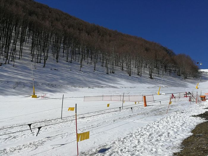Snow Winter Cold Temperature Sky Covering White Color Mountain Land Nature Sport Beauty In Nature Tranquility Scenics - Nature Tree Tranquil Scene Field Non-urban Scene Plant No People Outdoors Snowcapped Mountain Ski Run Roccaraso Ski Lift Sangro