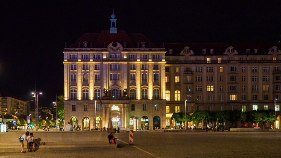 Haus Altmarkt in Dresden Building Exterior Night Architecture Illuminated Built Structure City Building Street Travel Destinations The Past History Group Of People Real People Haus Altmarkt Historic Building Nightphotography