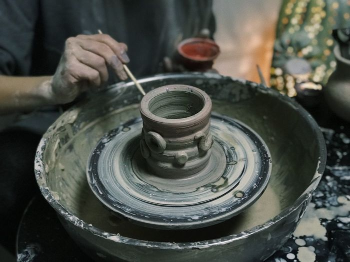 Human Hand Art And Craft Hand Craft Making Pottery One Person Skill  Creativity Motion Holding Human Body Part Occupation Shape Clay Workshop Working