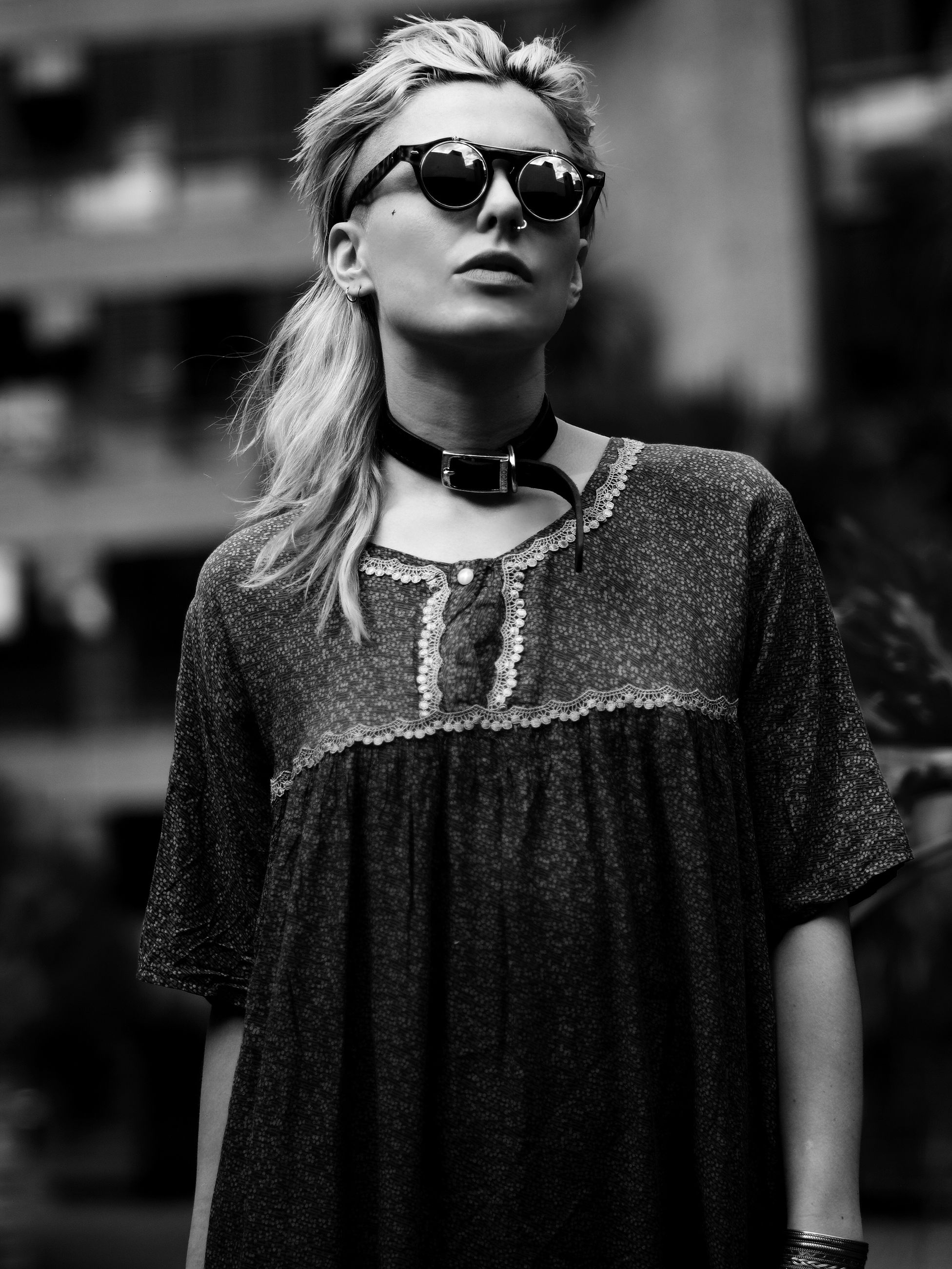 sunglasses, fashion, focus on foreground, real people, one person, cool, standing, young adult, blond hair, outdoors, day, young women, close-up, people