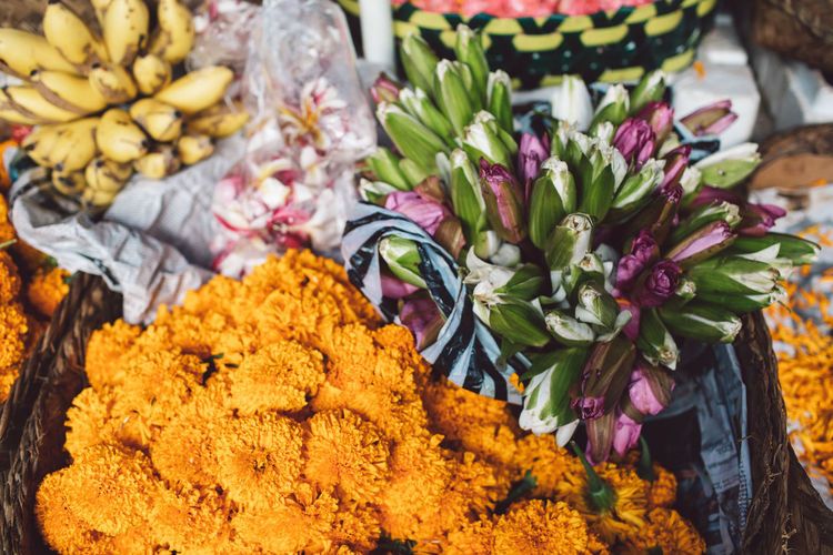 High angle view of various flower for sale in market