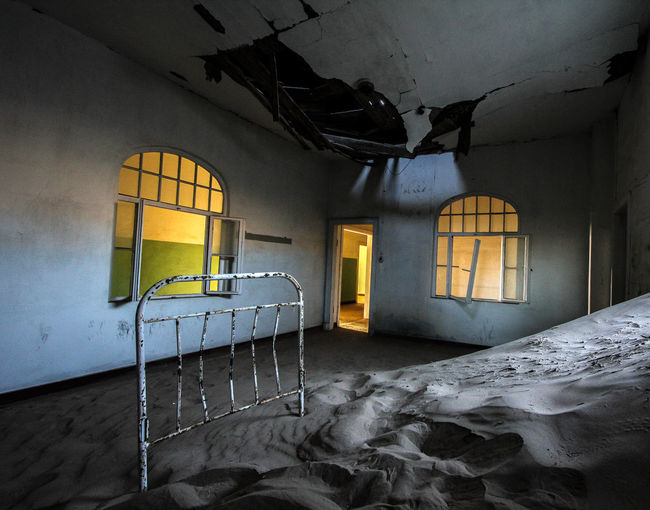 Abandoned Bad Condition Bed Building Damaged Destruction Diamond Town Hospital Kolmanskop Nature Old Ruined Sand Window