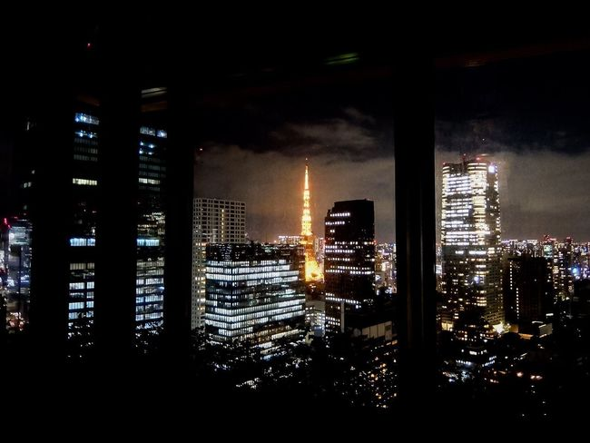 A room with a view Tokyo Tokyo Tower Illuminated Built Structure Night Architecture Building Exterior City Building Window Cityscape Skyscraper Nightlife