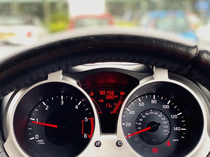 Close-up of car speedometer