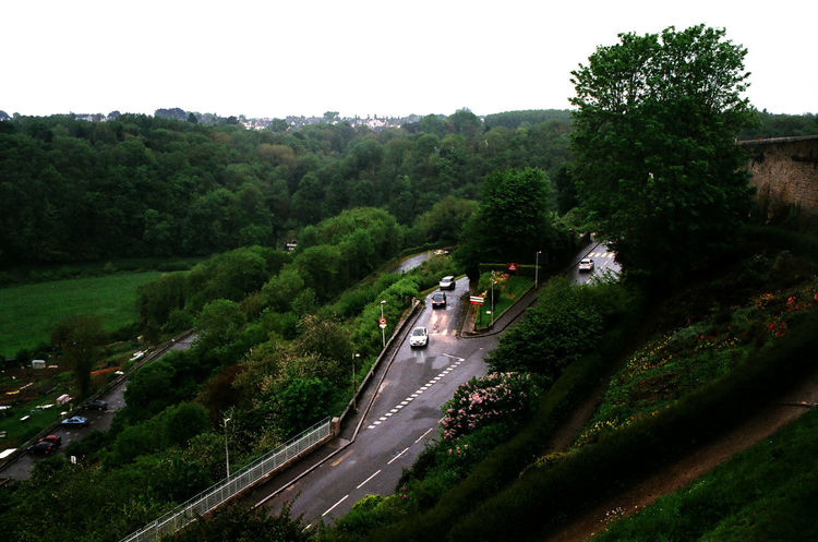 Dinan Bretagne France Car Clear Sky Grass High Angle View Land Vehicle Mode Of Transport Motion Nature On The Rain Outdoors Road Sky Traffic Transportation Tree Water