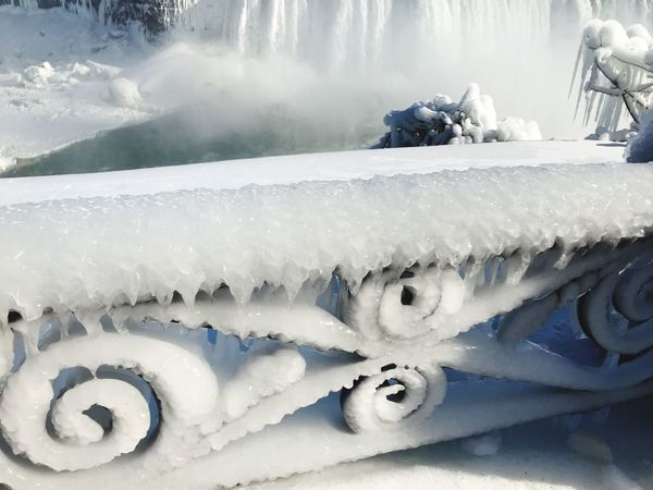 Niagra Falls and iced up ornate metal railings. Capture The Moment Nature_collection Popular Photos The Week on EyeEm EyeEmNewHere EyeEm Nature Lover Eye4photography  Beauty In Nature Majestic Bright White Frozen Lake Frozen Nature Railing _ Collection Railing Close Up Niagara Falls High Angle View Cold Temperature Snow Winter White Color Ice No People Day Frozen Outdoors Nature Close-up
