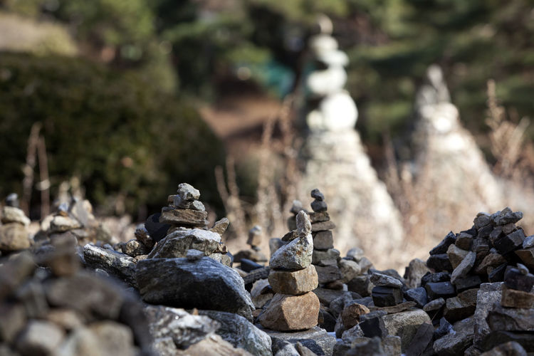 Stack of stones at buddhist temple