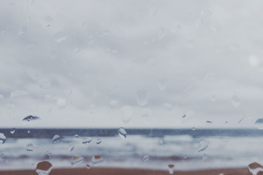Window Drop Water Indoors  Transparent Glass - Material Wet Rain Weather Backgrounds RainDrop Vehicle Interior Full Frame Focus On Foreground Journey Purity Blue Sky Vibrant Color No People