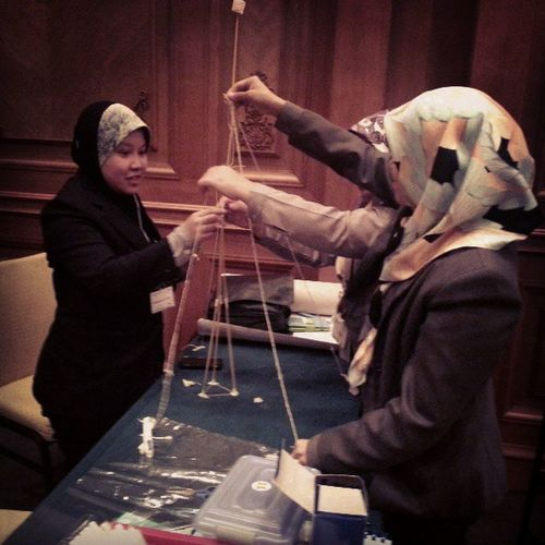 Well done to these young ladies who built the tallest structure in the marshmallow challenge earlier this evening! Whoneedsengineersorarchitects Brunei InstaBruDroid Andrography