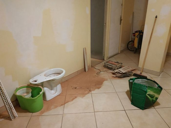 Domestic Room Home Improvement Domestic Life Home Interior Tile DIY Cleaning Dirty Tiled Floor Architecture