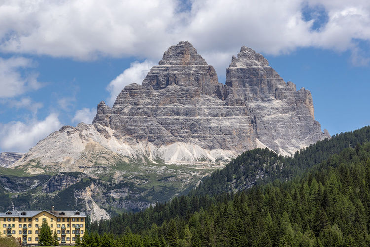 Architecture Beauty In Nature Building Exterior Built Structure Cloud - Sky Day Environment Formation Land Misurina Lake Mountain Mountain Peak Mountain Range Nature No People Outdoors Plant Rock Scenics - Nature Tranquil Scene Travel Destinations Tree