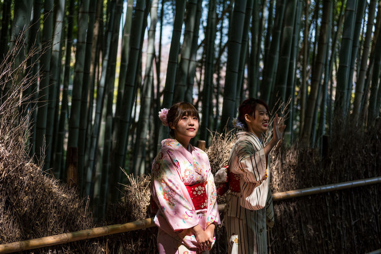 Bamboo Grove Kyoto Adult Arashiyama Arashiyama Bamboo Grove Bamboo - Plant Bamboo Grove Child Childhood Children Only Day Forest Friendship Girls Kyoto Kyoto Bamboo Nature Outdoors People Real People Standing Tree Tree Trunk YUKATA