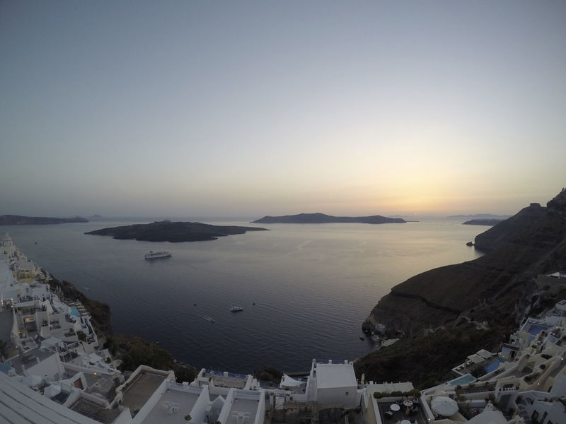 Fira and the Caldera | Santorini Aerial View Beach Caldera City Cityscape Day Fira Fira Santorini Gopro Horizon Over Water Nature No People Outdoors Santorini Santorini Island Santorini, Greece Scenics Sea Sky Sunset Water Wide Angle Wide Angle View