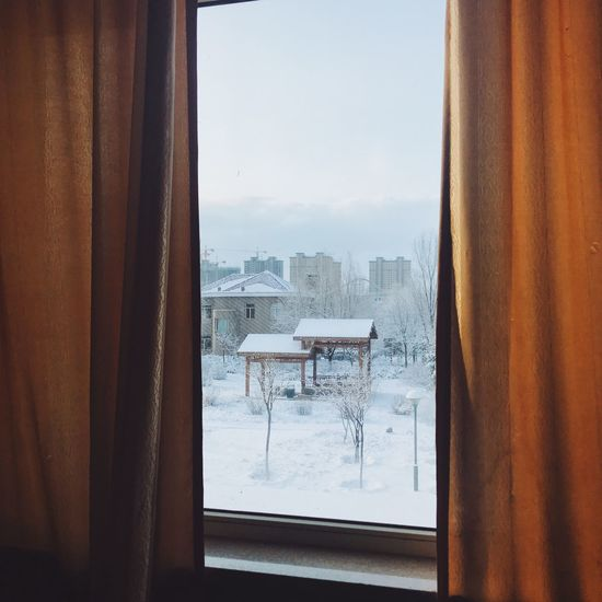 Window Cold Temperature Snow Winter Curtain Indoors  Weather No People Day Frozen Home Interior Nature Sky Architecture
