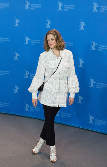 Berlin, Germany - February 19, 2018: German actress Marie Baeumer poses at the '3 Days in Quiberon' (3 Tage in Quiberon) photo call during the 68th Berlinale Film Festival at Grand Hyatt Hotel Famous German Marie Baeumer Marie Bäumer Photocall Woman Actress Beautiful Woman Berlinale Berlinale 2018 Berlinale Festival Berlinale2018 Berlinale68 Front View Full Length German Actress One Person People Photo Call Popular Portrait Pose Posing Posing For The Camera Woman Portrait